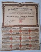 Lot De 14 ACTIONS TITRES De 100 Francs - LA GARANTIE FONCIERE: LYON: 1929 - Banque & Assurance