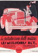 92- LEVALLOIS PERRET- RARE BELLE PUBLICITE PLAQUES POLICE VOITURE ACCESSOIRES RLT-85 RUE CHAPTAL-1930 AUTO - Cars