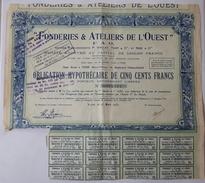 ACTION TITRE - FONDERIES & ATELIERS DE L'OUEST - VITRE ( Ille Et Villaine): 1932 - Industrie