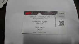 Israel-match Tickets(27)foot Ball-hapoel Kiryat-shemona-maccabi Haifa-(invitation)(28.10.2017)-(number-3748)-payler - Tickets D'entrée