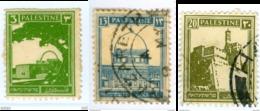 PALESTINA, MANDATO BRITANNICO, MONUMENTI, 1927, FRANCOBOLLI USATI,  Yvert Tellier 64,71,74….Scott 64,74,77 - Palestina