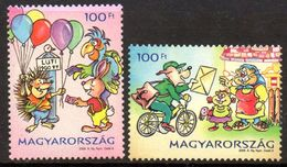 Hongrie Hungary Magyar 4305/06 Facteur, Hérisson, Perroquet, Lapin, Chien , Bicyclette - Post