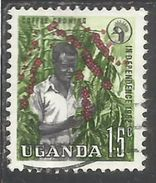 UGANDA 1962 INDEPENDENCE INDIPENDENZA INDEPENDANCE COFFEE GROWING PIANTAGIONE CAFFE' CENT 15c USATO USED OBLITERE' - Uganda (1962-...)