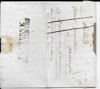 """LUXEMBOURG/BELGIQUE -1821- MARQUE D'ENTREE """"FRANKRYK OVER LUXEMBURG"""" LETTRE De PARIS => MARCHE EN FAMENNE (GRAND-DUCHE) - Luxembourg"""
