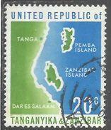 TANGANIKA AND ZANZIBAR (TANZANIA) 1964 MAP CENT. 20c USATO USED OBLITERE' - Zanzibar (1963-1968)