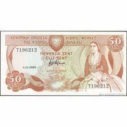 TWN - CYPRUS 52c - 50 Cents 1.11.1989 Prefix T UNC - Cipro