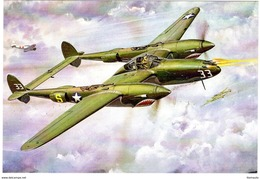 Lightning P-38  -  Art Card  -  CPM - 1939-1945: 2ème Guerre