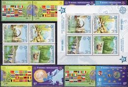 50 Jahre CEPT 2006 Bosnia 339/2 VB+Block 13 A,Bosna 419/2+ZD ** 51€ Karte Flagge S/s Map Bloc Flag Sheets Bf EUROPA - Bosnie-Herzegovine