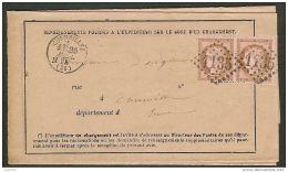 Paire Du N°58 Oblitéré Gros Chiffre 1135 De Cormeilles Eure Sur Avis Chargement - 1849-1876: Période Classique