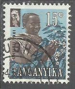 TANGANYKA TANGANYIKA TANZANIA 1961 INDIPENDENCE INDIPENDANCE INDIPENDENZA COFFEE PICKER CENT. 15 USATO USED OBLITERE' - Tanzania (1964-...)