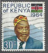 KENYA 1964 PRESIDENTE President JOMO Kenyatta + FLAG BANDIERA CENT 30c USATO USED OBLITERE' - Kenia (1963-...)