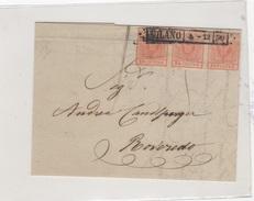 Storia Postale. Rovereto/Milano 1850. Cents 15. - 1861-78 Victor Emmanuel II