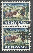 KENYA 1963 INDEPENDENCE INDIPENDENZA INDEPENDANCE Callie Ranching. CENT 5c USATO USED OBLITERE' - Kenia (1963-...)
