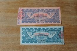 2 Billets De Loterie De Monte Carto  Principauté De Monaco   1938 - Billetes De Lotería