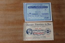 2 Billets De Loterie  Nationale   1937    Dont   Banque Populaire Du Var Et  Le Pates La Lune - Billets De Loterie