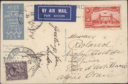 CP APEX Inetrnational Air Post Exibition London May 1934 By Air Mail YT 192 Et Vignette Air Postal Exibition 1934 Oran - Storia Postale