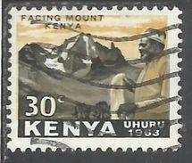 KENYA 1963 INDEPENDENCE INDIPENDENZA INDEPENDANCE Jomo Kenyalla Facing Ml. Kenya. CENT 30c USATO USED OBLITERE' - Kenia (1963-...)