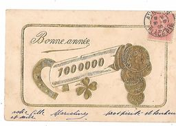 REPRESENTATION PIECES FRANCAISE Rouleau De 1.000.000 Avec Fer à Cheval Et Trèfle à 4 Feuilles Sur Cpa Fantaisie BONNE AN - Monnaies (représentations)