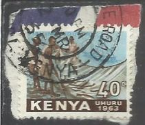 KENYA 1963 INDEPENDENCE INDIPENDENZA INDEPENDANCE FISHING INDUSTRY CENT 40c USATO USED OBLITERE' - Kenia (1963-...)