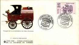ENVELOPPE 1er JOUR .JOURNEE DU TIMBRE..OISSEL  1988..FOURGON DE LA CORRESPONDANCE DES INDES ORIENTALES - FDC