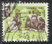 TANGANYKA TANGANYIKA TANZANIA 1961 INDIPENDENCE INDIPENDANCE INDIPENDENZA SCHOOLING CENT. 5 USATO USED OBLITERE' - Tanzania (1964-...)
