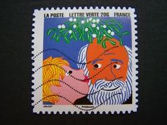 N° 1201 ENFANT EMBRASSANT SON GRAND PERE OBLITERE ANNEE 2015 SERIE DU CARNET BONNE ANNEE AUTOCOLLANT ADHESIF - France