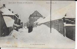 SAINT PIERRE ET MIQUELON - CARTE De La RUE BORDA En HIVER - Ed. BREHIER - TIMBREE AU DOS - Saint-Pierre-et-Miquelon