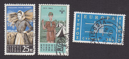 Cyprus, Scott #222, 224, 230, Used, Cypriot Farm Girl, Scouts, Europa, Issued 1963 - Used Stamps