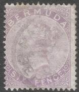 Bermuda. 1865-1903 Queen Victoria. 6d Used. Crown CC W/M SG 7 - Bermuda