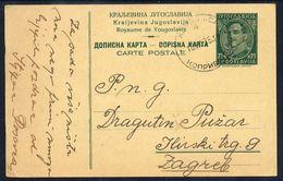 YUGOSLAVIA 1934 King Alexander 0.75 D.postcard  Used.  Michel P65 - Enteros Postales