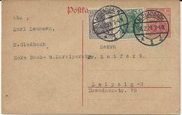 2 ENTIERS POSTAUX 1921/22 AVEC AFFRANCHISSEMENT COMPLEMENTAIRE - Ganzsachen