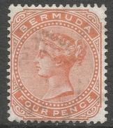 Bermuda. 1880 Queen Victoria. 4d Used. Crown CC W/M SG 20 - Bermuda