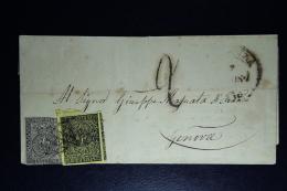 Lettera Da Parma Per Genova Con Affrancatura Bicolore SA  1 + 2  1 Stamp Removed - Parma