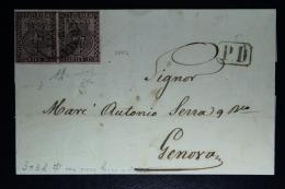 Lettera Da Parma Per Genova 1857 Paio / Pair Sa 3 Signed/ Signé/signiert/ Approvato Diena Certificate - Parma
