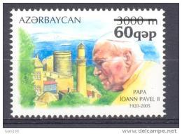 2007.  Azerbaijan, Pope John Paul, Stamp With OP New Value, 1v, Mint/** - Azerbaïjan