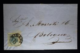 Austria-Lombardei & Venetien Umschlag Milano -> Bologna 1857  Sa 22  Mi 5 Y   45 C. Machine Paper Nice Wide Borde - 1850-1918 Impero