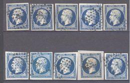 France: Yvert N° 14°; 10 Exemplaires A étudier - 1853-1860 Napoleon III