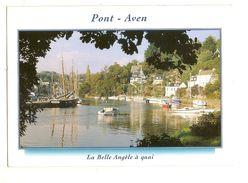 """Pont Aven (29) Sur Les Rives Boisees De L'aven """" La Belle Angele A Quai """" ( Bateau Voilier ) - Pont Aven"""