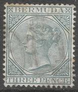 Bermuda. 1883-1904 Queen Victoria. 3d Used. Crown CA W/M SG 28 - Bermuda