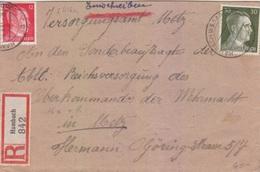 Lettre Rec. (12 + 30pf = 1° éch) De Hambach (b Saargemünd) Pour Metz Le 28/09/43 + étiquette Allemande Hambach - Marcophilie (Lettres)