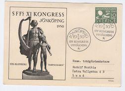1950 SWEDEN SSFs CONGRESS Jonkoping EVENT COVER (card) UPU Stamps - Sweden