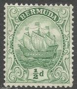 Bermuda. 1910-25 Ship.  ½d MH. Mult Crown CA W/M SG 45 - Bermuda