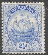 Bermuda. 1910-25 Ship.  2½d MH. Mult Crown CA W/M SG 48 - Bermuda