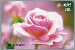 JP.- Japan, Telefoonkaart. Telecarte Japon. LAGARE CARD 3000. BLOEM. Roos. - Bloemen