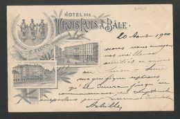 Hotel Des TROIS ROIS à BÂLE -- C. FLÜCK Propriétaire -- Carte Précurseur 1900 - Carte Publicitaire - - BS Basle-Town