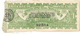 LOTERIE DE MONTE CARLO. 1937 - Billets De Loterie