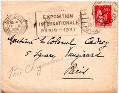 Cachet  Gare De NANTES   Du 12.11.1937 - Postmark Collection (Covers)