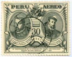 PERU, POSTA AEREA, AIRMAIL, COMMEMORATIVO, SAN MARCOS UNIVERSITA, 1951, FRANCOBOLLI USATI Yvert Tellier PA98  Scott C109 - Peru