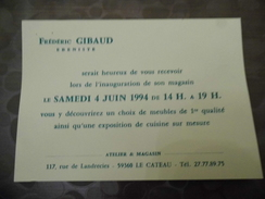 Carte D' Inauguration - Gibaud - Ebeniste - Le Cateau En Cambrésis - Cartes