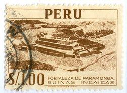 PERU, COMMEMORATIVO, MONUMENTI, FORTEZZA DI PARAMONGA, 1952, FRANCOBOLLI USATI Yvert Tellier 434  Scott 465 - Peru